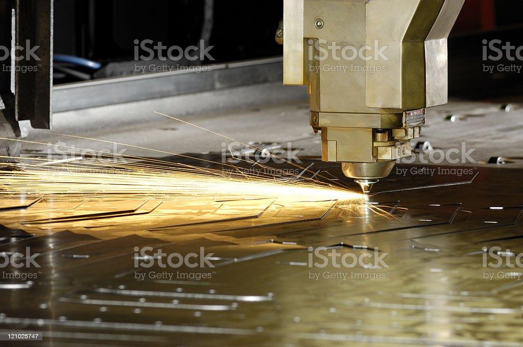High-speed laser cutting machine stock photo