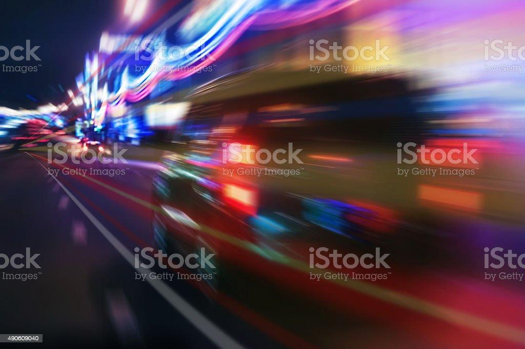 high-speed movement at night stock photo