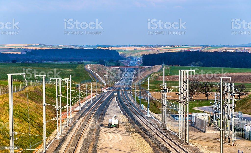 High-speed railway LGV Est phase II under construction stock photo