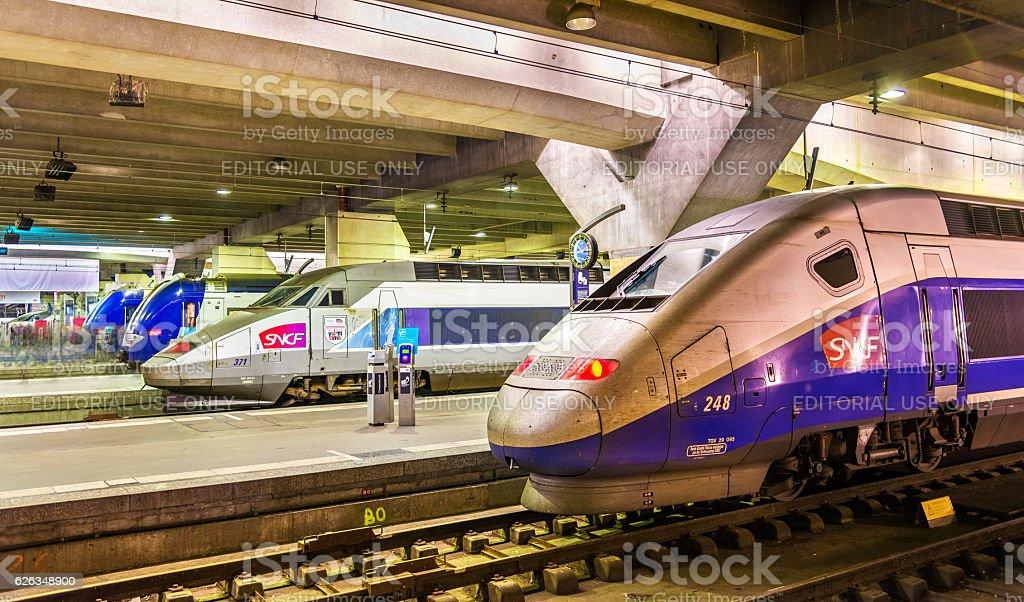 High-speed TGV trains at Montparnasse railway station stock photo