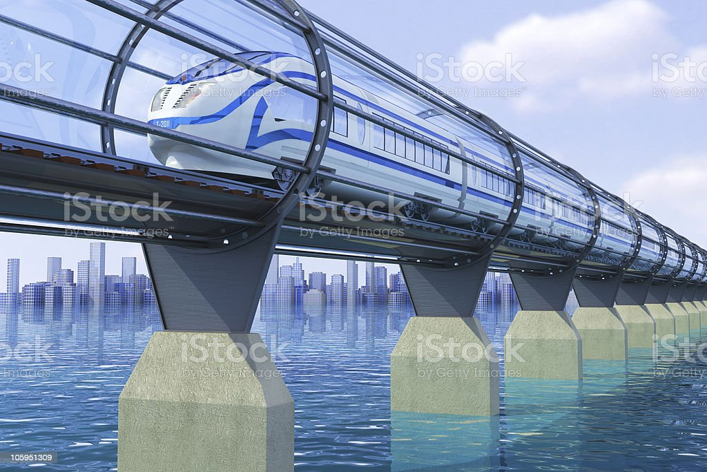 High-speed train on the bridge above the water stock photo