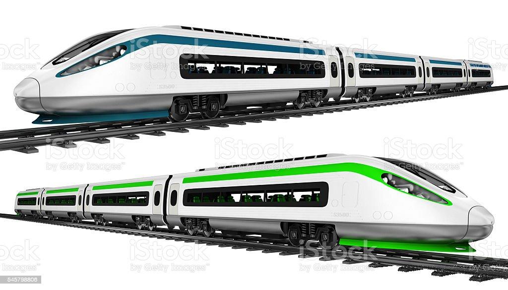 High-speed train. Set. 3d illustration. stock photo