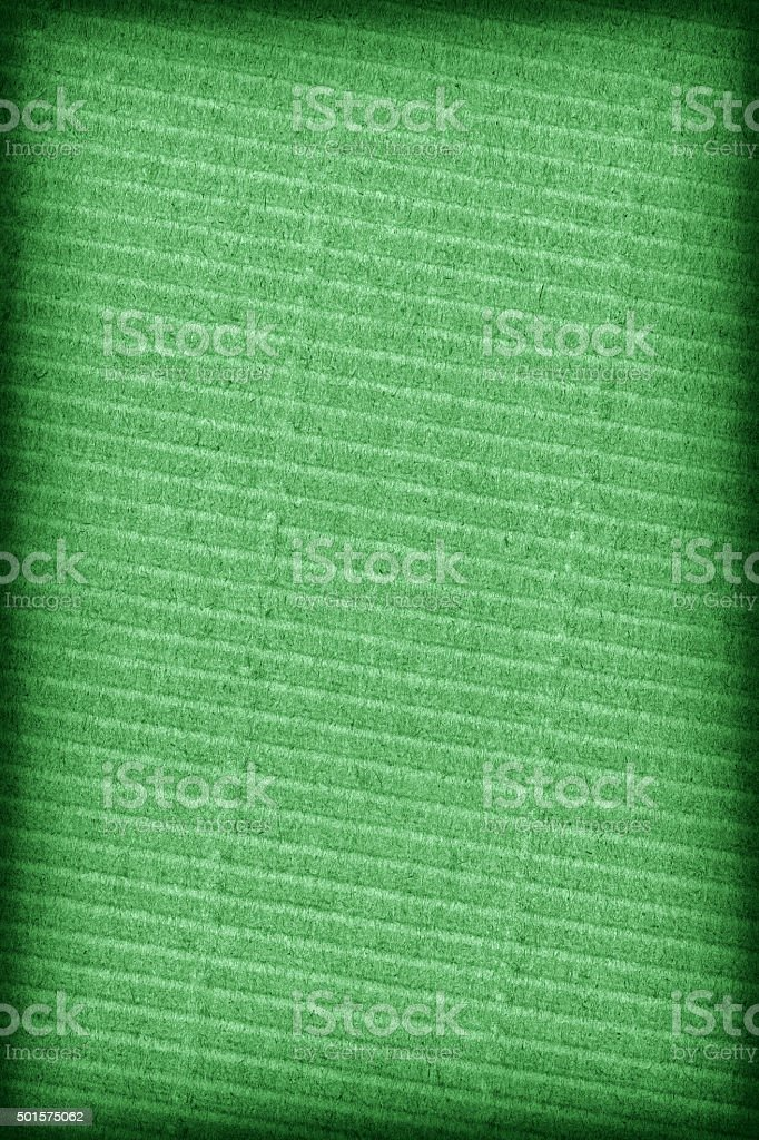 Hight Resolution Kelly Green Corrugated Cardboard Vignette Grunge Texture stock photo