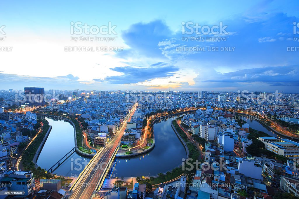 Hight view of Ho Chi Minh City at night. royalty-free stock photo