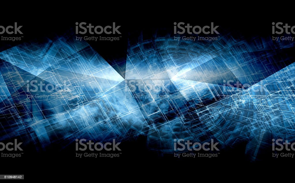 High-tech cg concept, polygonal structures, 3d stock photo