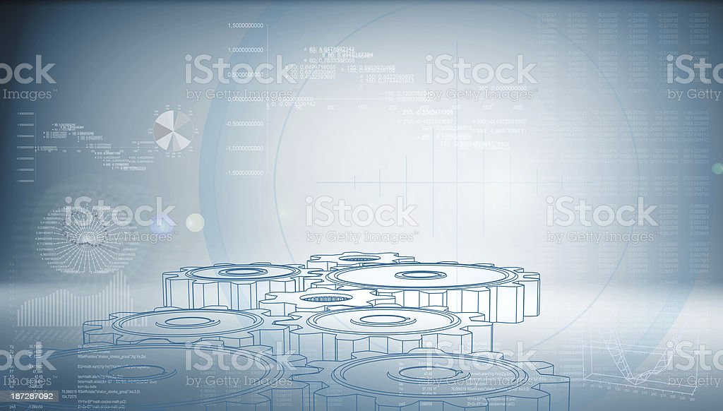 High-tech gear on a blue background stock photo