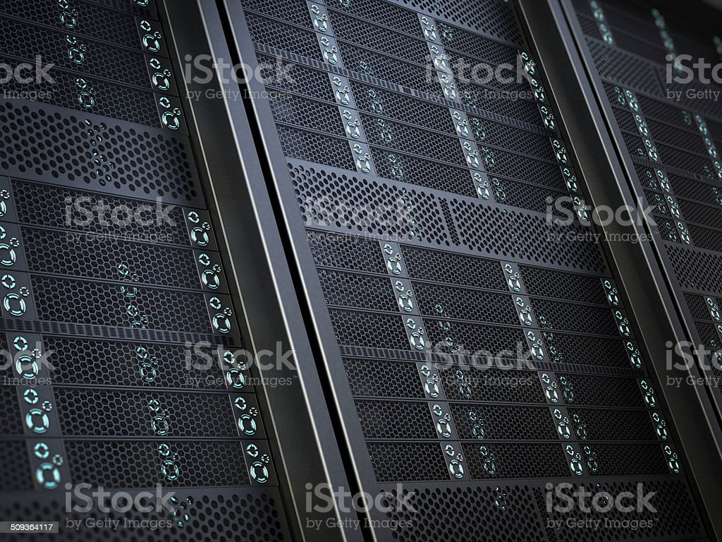 High-tech network server equipment detail stock photo