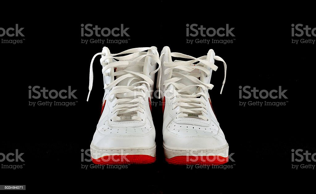 High-top classic basketball shoes sneakers stock photo
