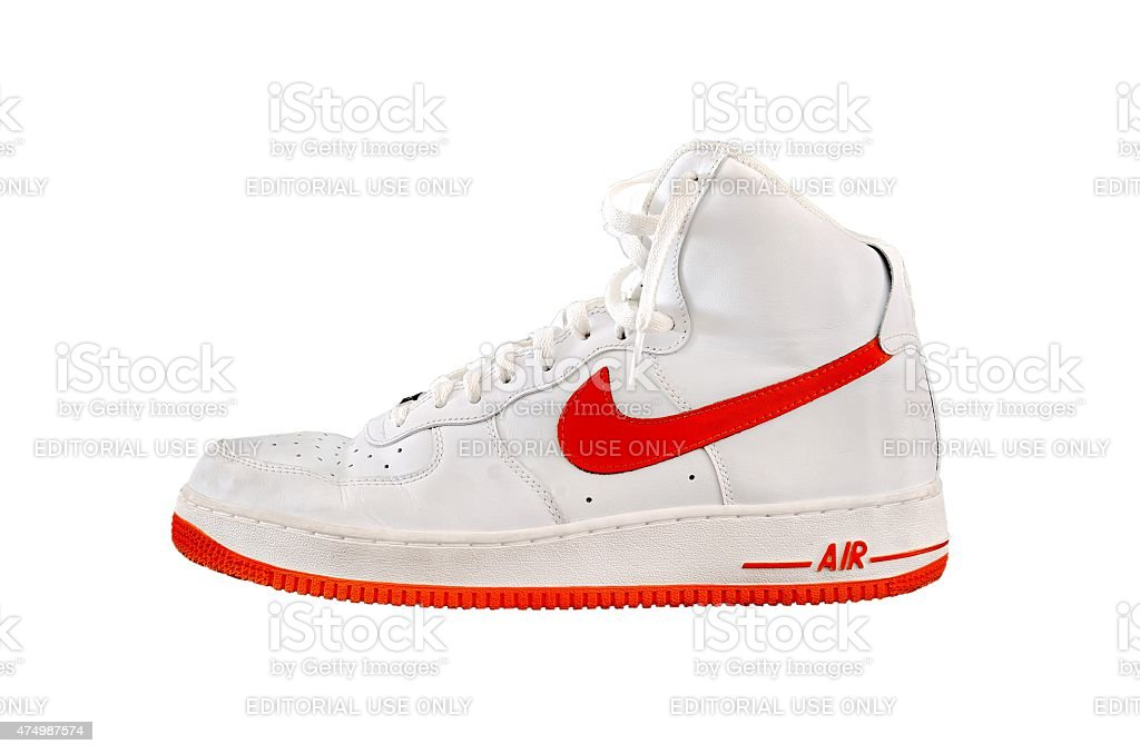 High-top classic Nike AF-1 basketball shoe sneaker stock photo