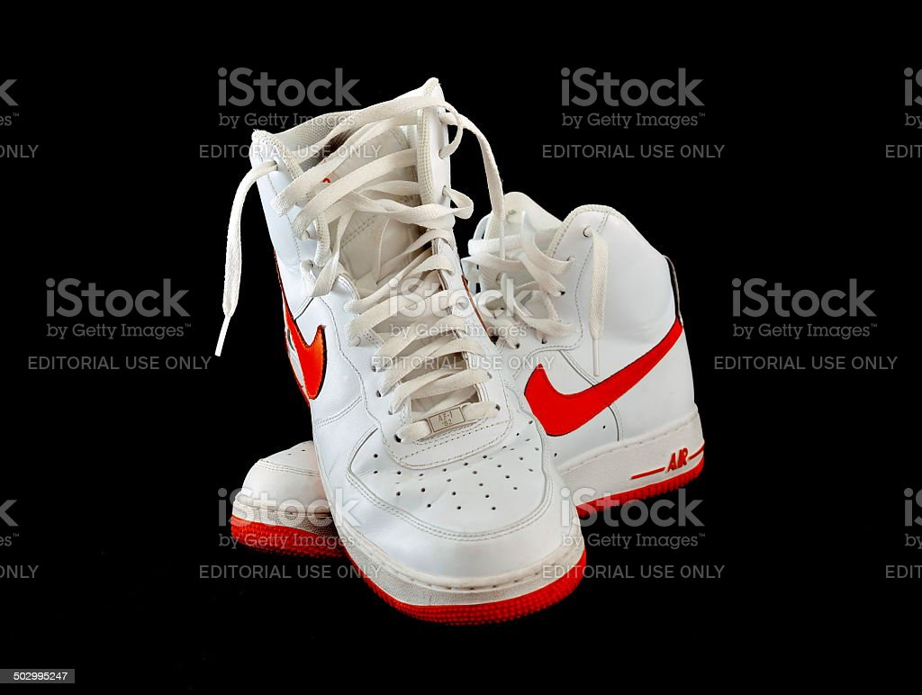 High-top classic Nike AF-1 basketball shoes sneakers stock photo