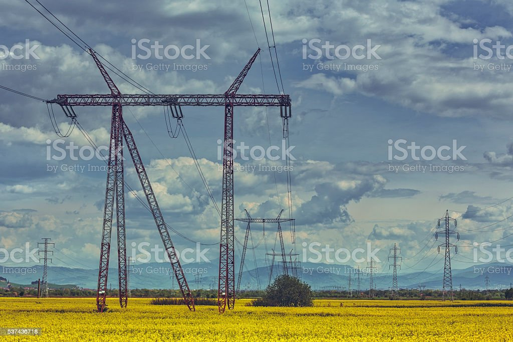 High-voltage electric energy distribution network stock photo