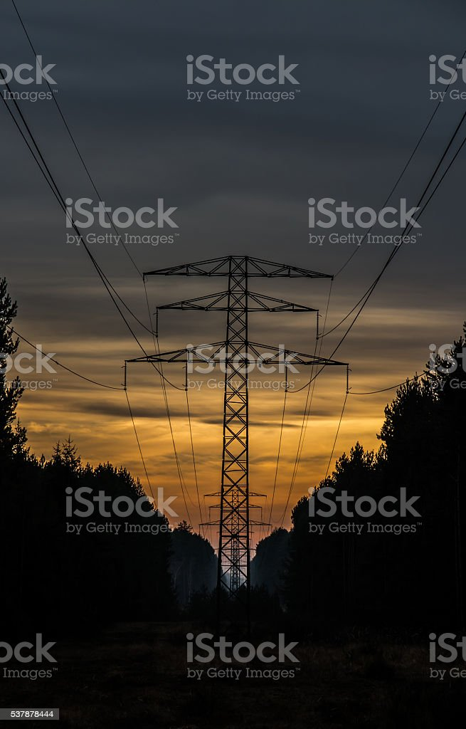 high-voltage electric line stock photo