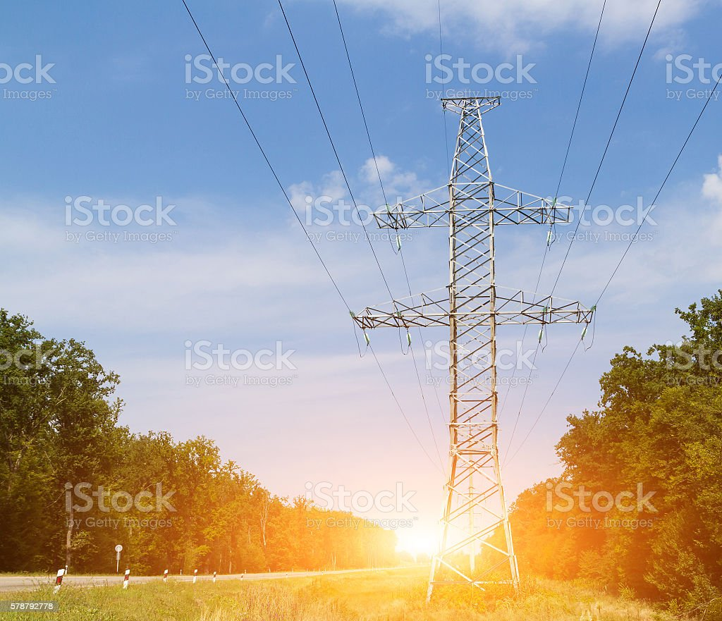 High-voltage line stock photo