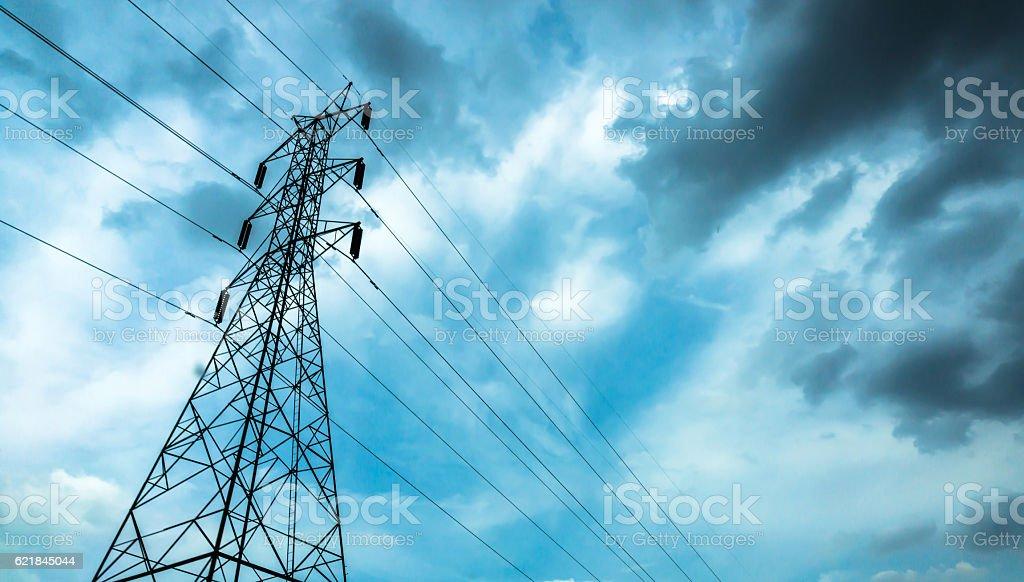 High-voltage sky background. stock photo
