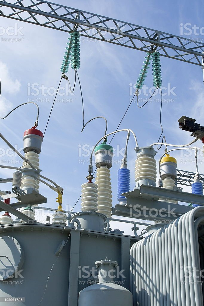 High-voltage substation equipments. royalty-free stock photo