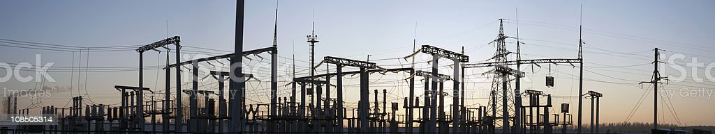 High-voltage substation. royalty-free stock photo