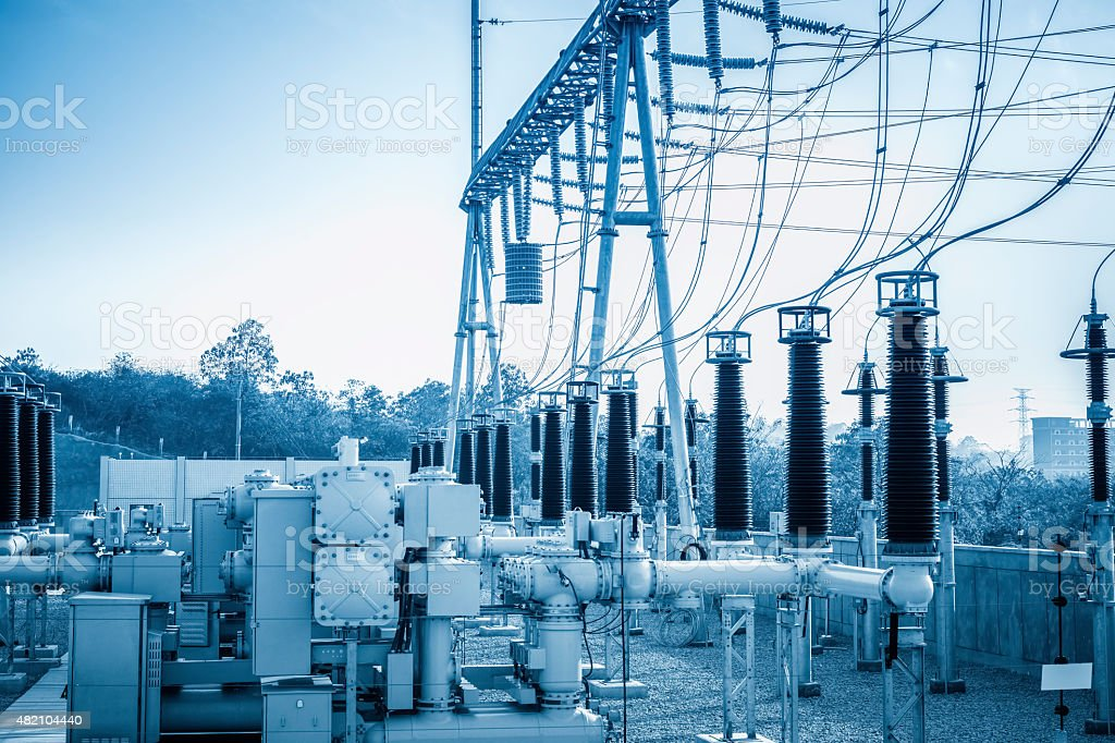 high-voltage substation stock photo