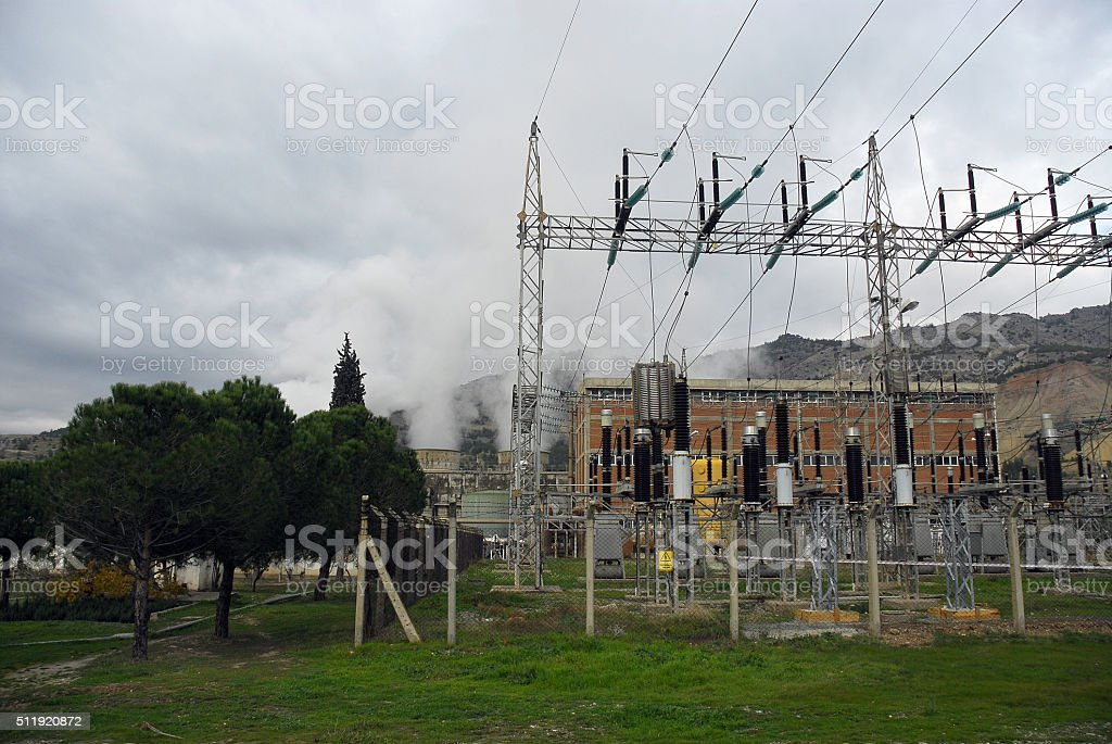 High-voltage substation, Turkey stock photo
