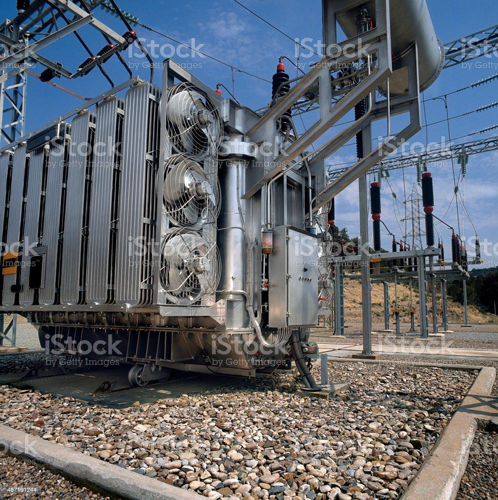 High-voltage supply transformer stock photo