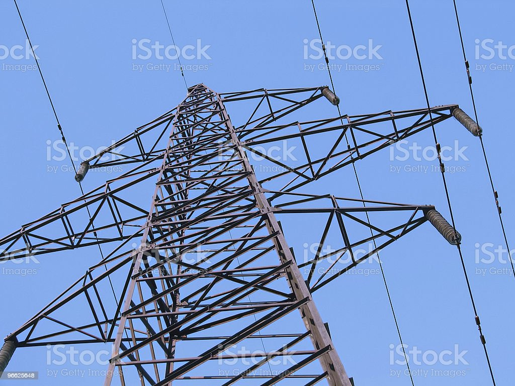 High-voltage tower from a ground view royalty-free stock photo