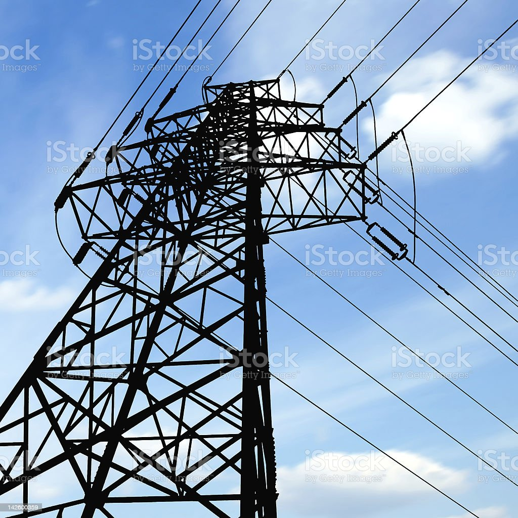 High-voltage tower sky background royalty-free stock photo