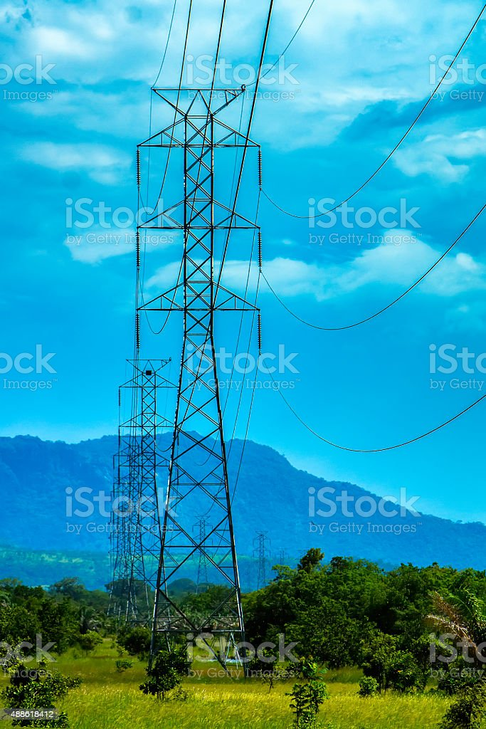 High-Voltage Tower Trasmition stock photo