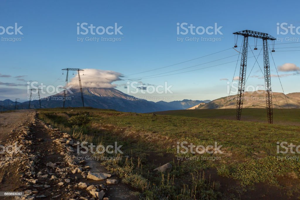 High-voltage transmission lines passing through Viluchinsky pass stock photo
