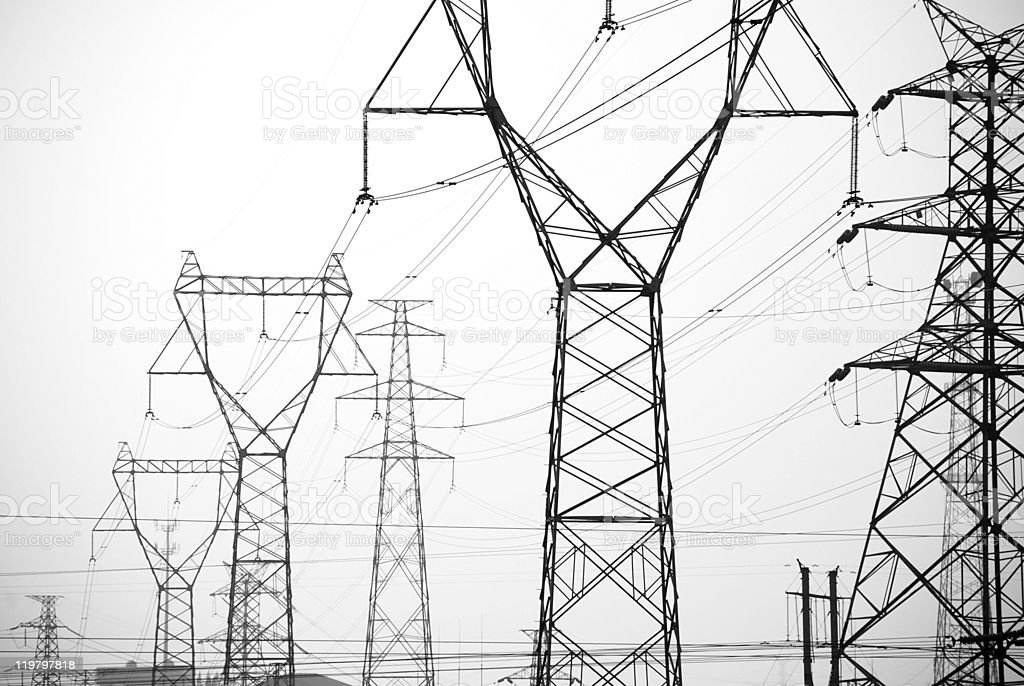High-voltage wire stock photo