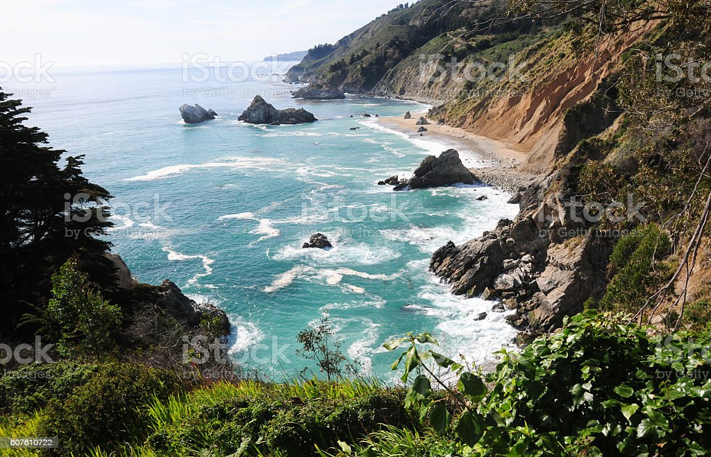 Highway 1 near Big Sur, California - a picturistic cove stock photo