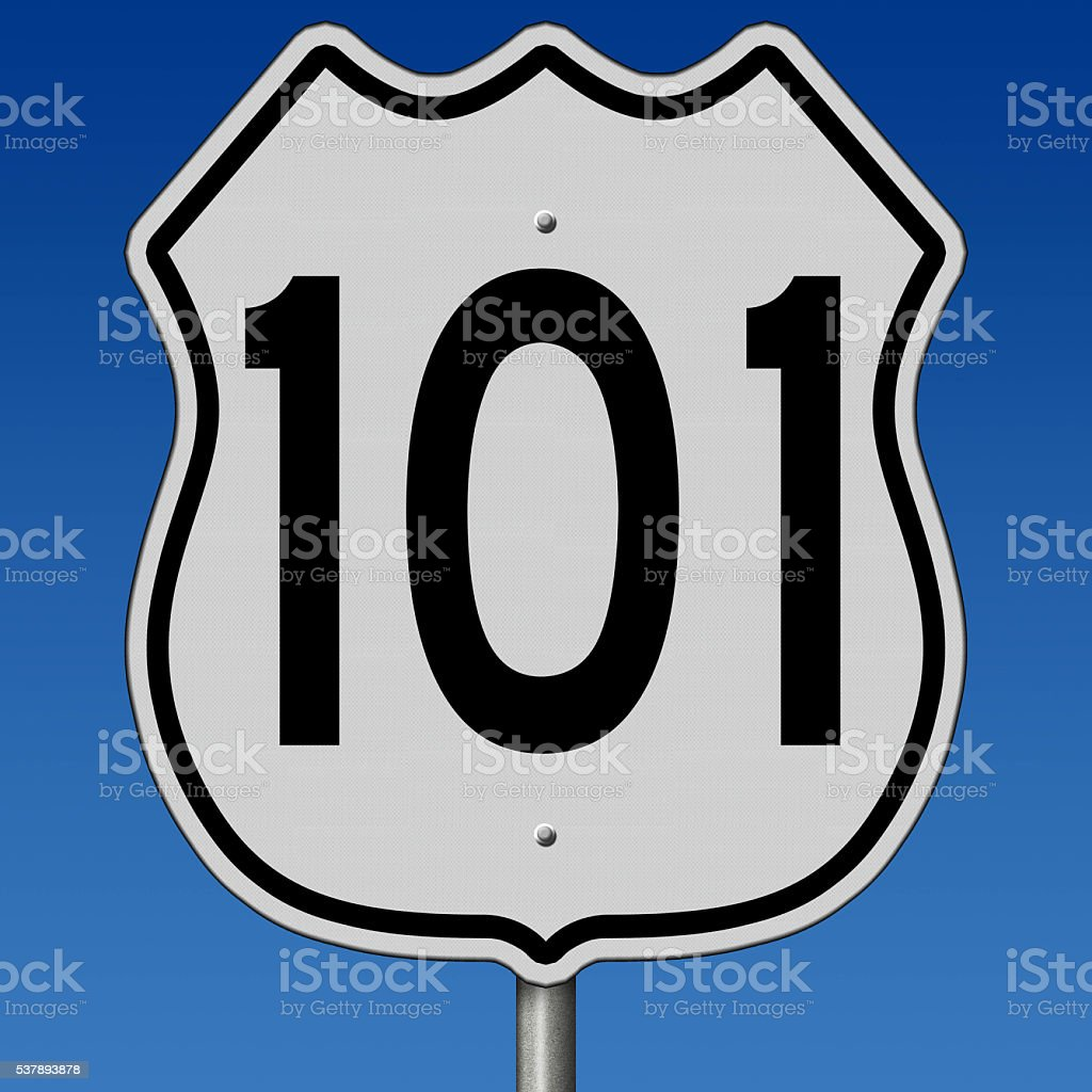 Highway 101 sign stock photo