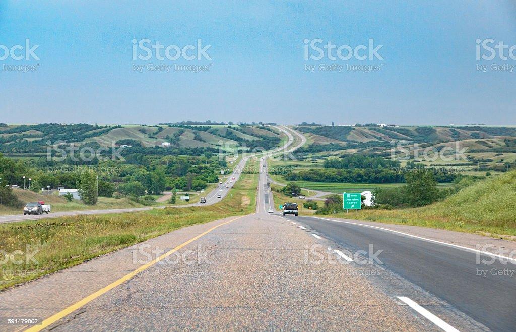 Highway 11 in Saskatchewn Through The Lumsden Valley stock photo