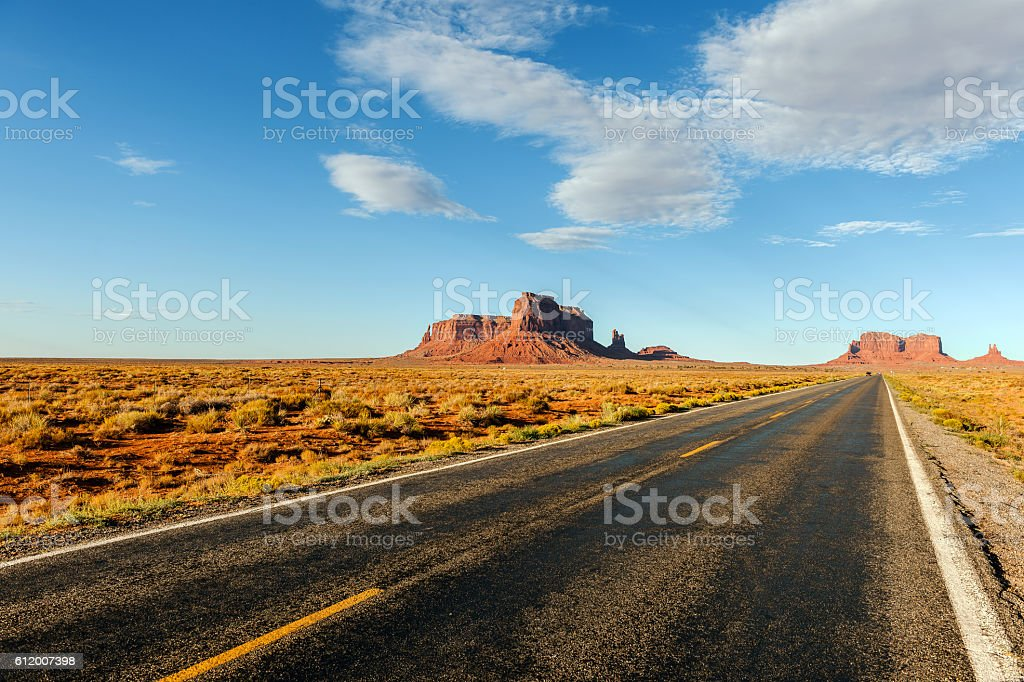 Highway 163 in Monument Valley, Arizona, USA stock photo