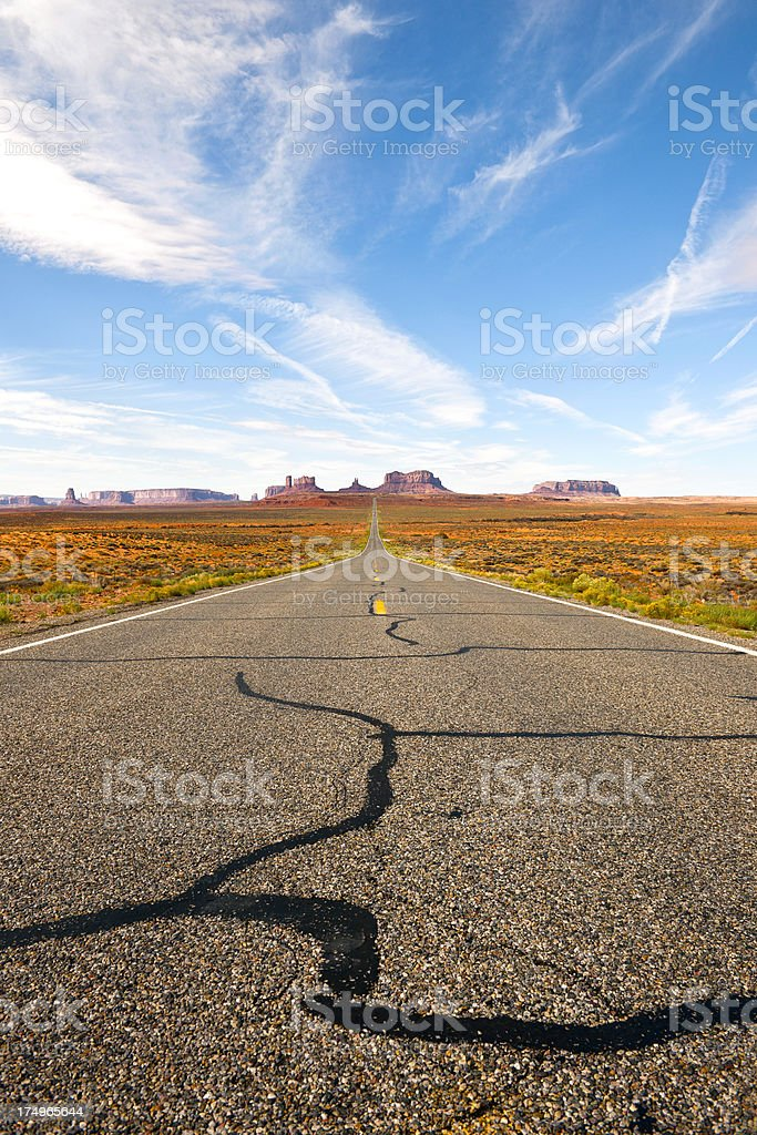 Highway 163 in Monument Valley, Western  USA royalty-free stock photo