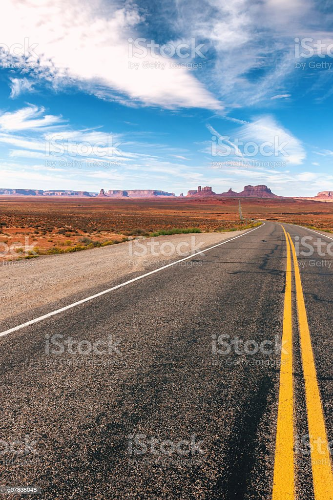Highway 163 in Monument Valley, yellow line,Utah USA stock photo