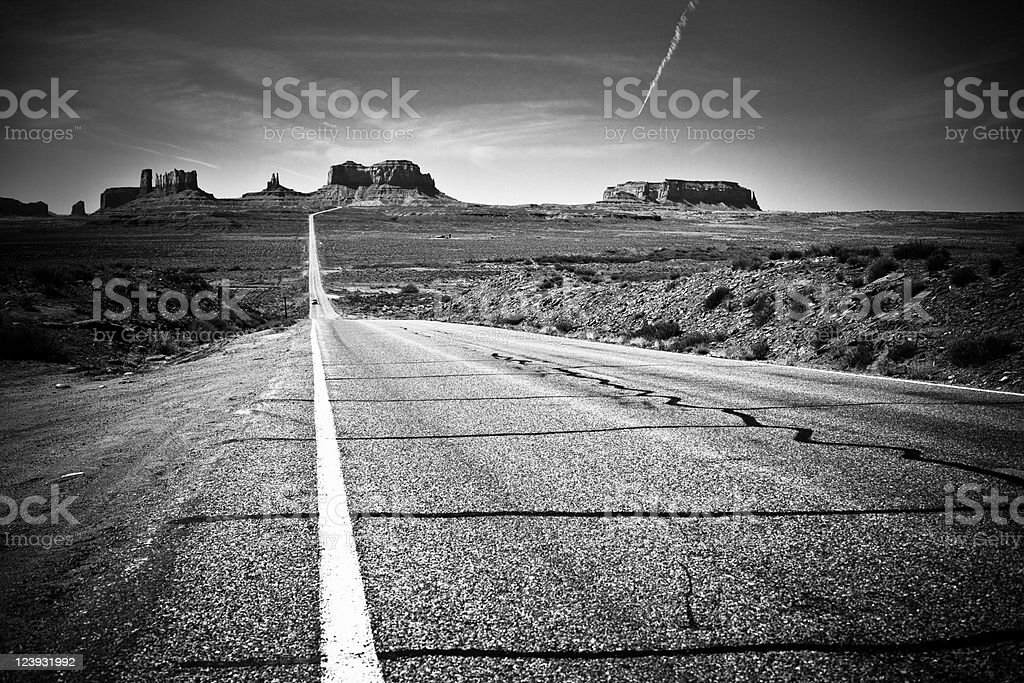 Highway 163 Monument Valley Utah Black And White royalty-free stock photo