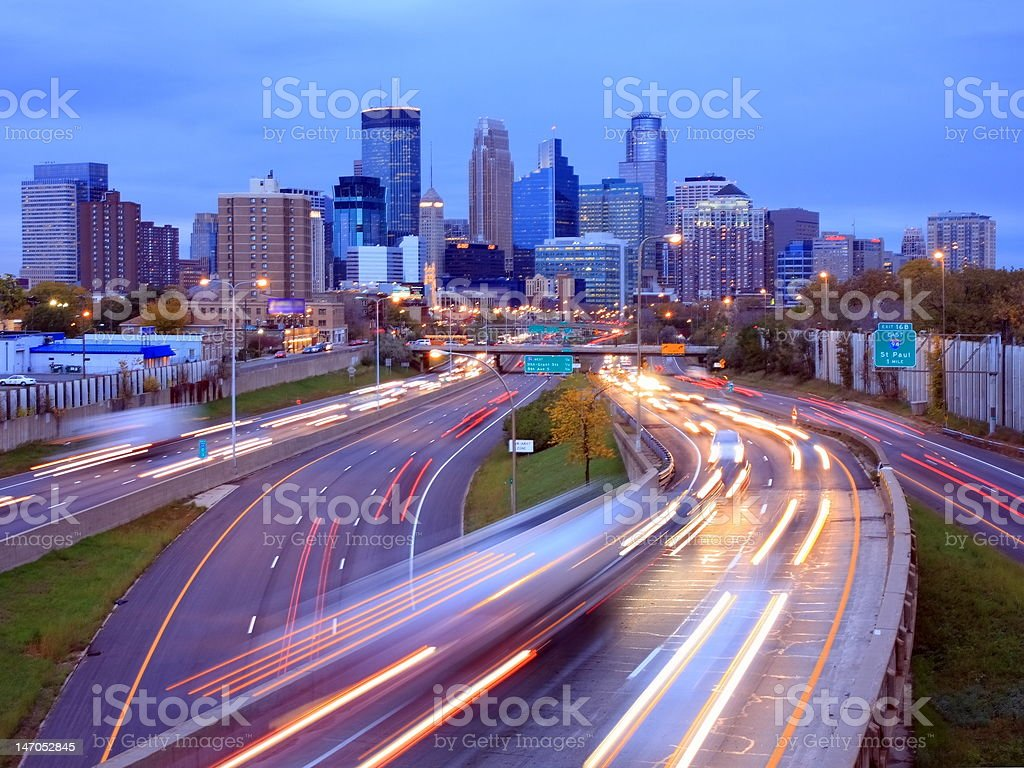 Highway 35W in Minneapolis stock photo