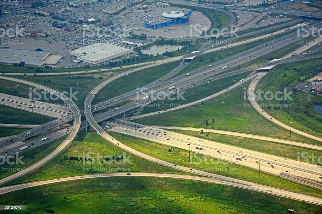 highway 400  and 407, aerial, Ontario, Canada stock photo