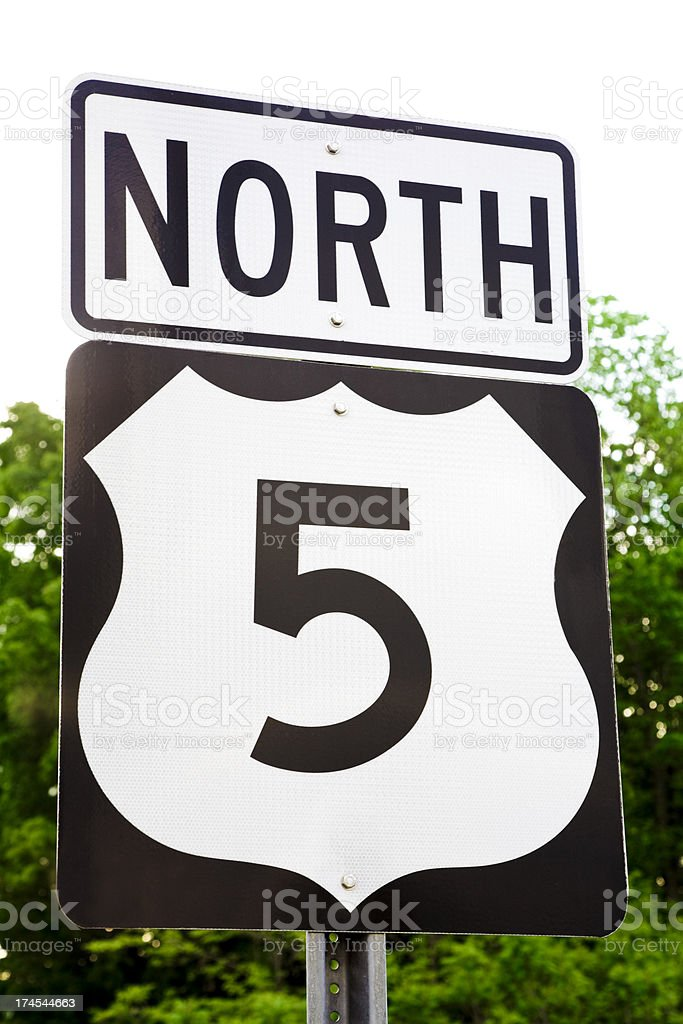 US Highway 5 North sign Vermont, northeast USA, New England royalty-free stock photo