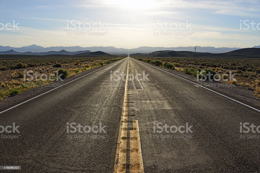 U.S. Highway 6, east of Tonopah, Nevada. stock photo