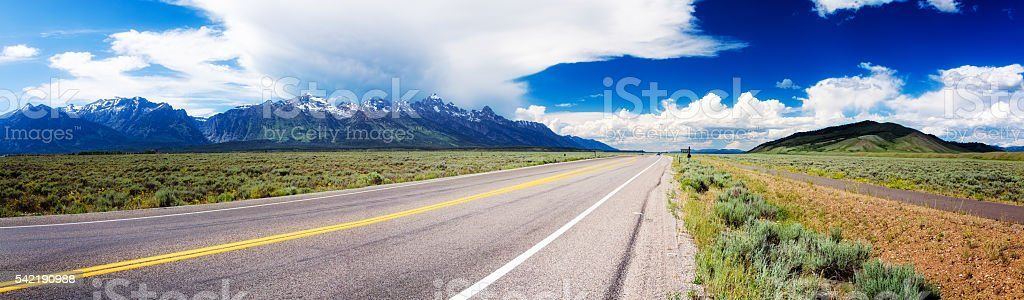 Highway 89 panorama in Wyoming USA near Grand Teton park stock photo