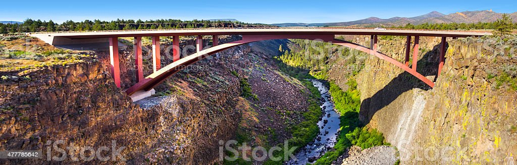 Highway 97 Bridge Overpass at Crooked River, Bend, Oregon Panorama stock photo