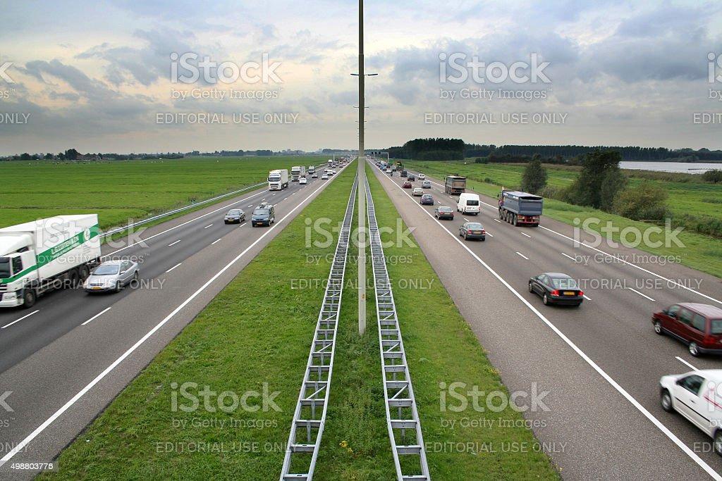 Highway A4 near Leidschendam in the Netherlands stock photo