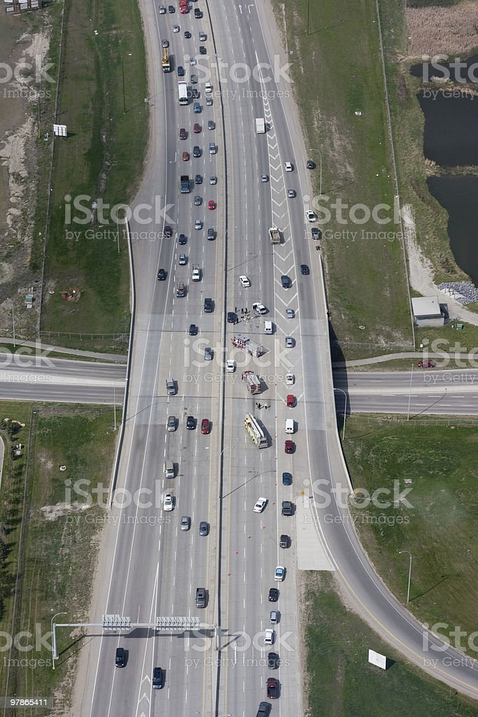 Highway Accident Aerial View stock photo