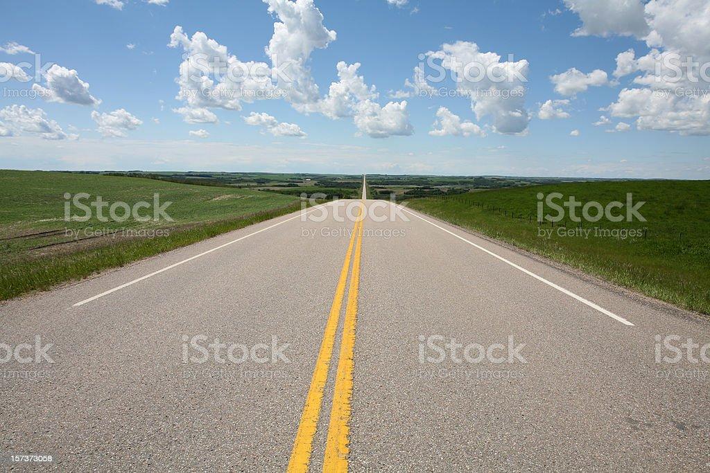 Highway Across Alberta royalty-free stock photo