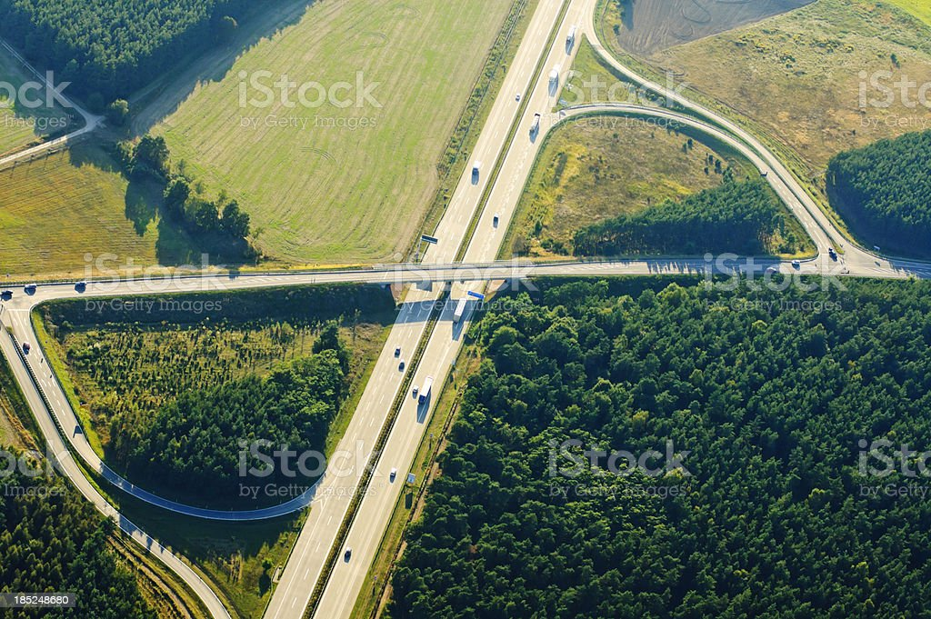 Highway - Aerial view stock photo