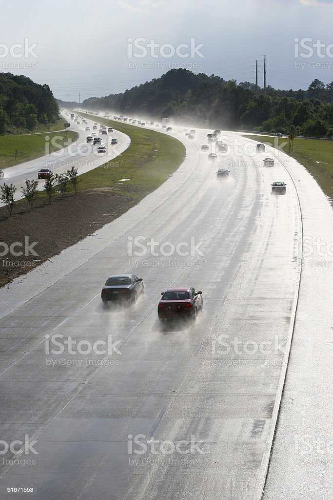 Highway after rain stock photo