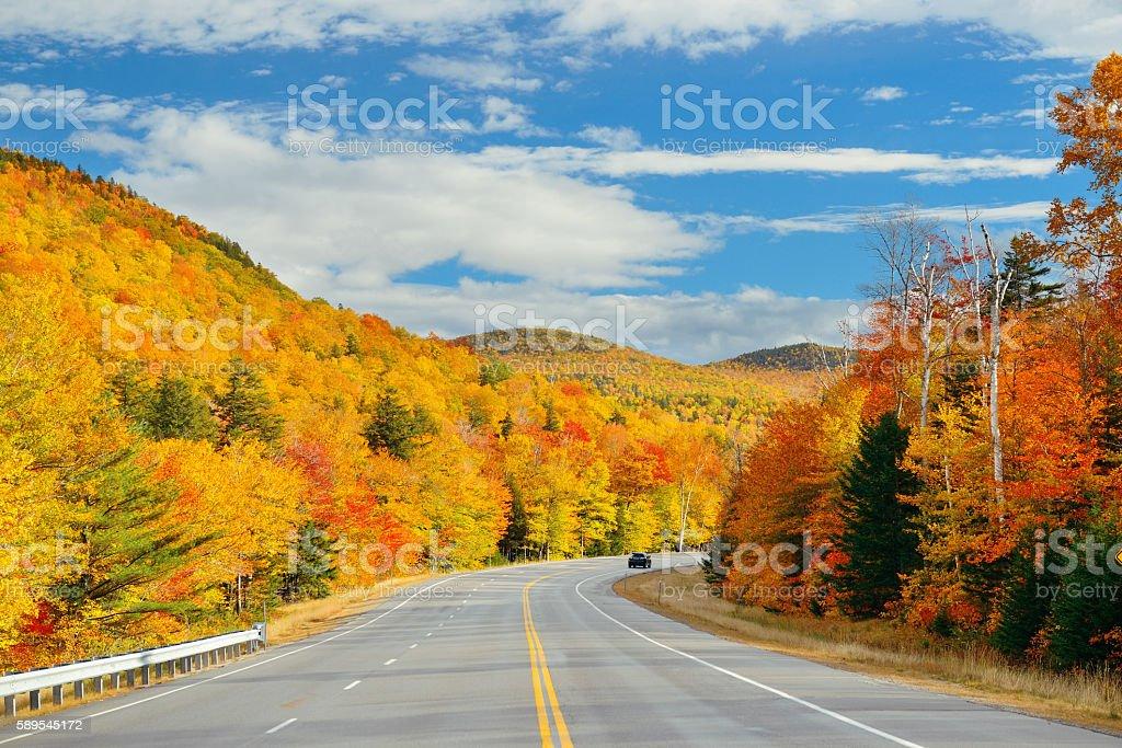 Highway and Autumn foliage stock photo