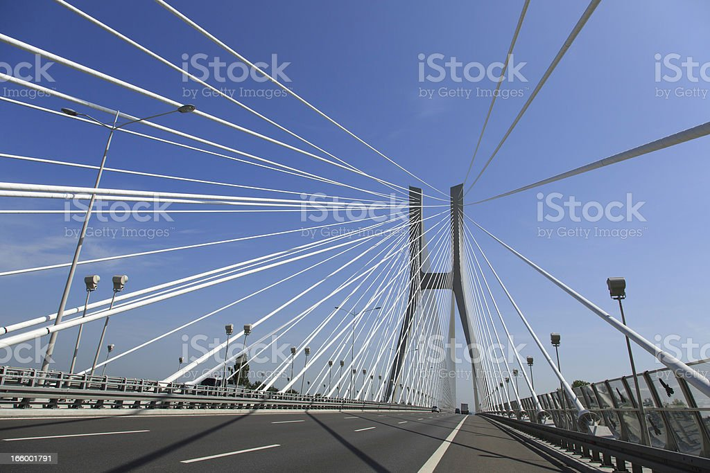 highway and cable-stayed bridge stock photo