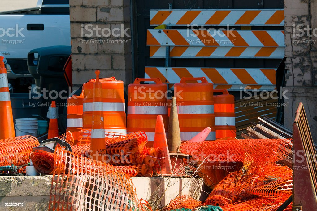 Highway and Construction Warning Equipment stock photo