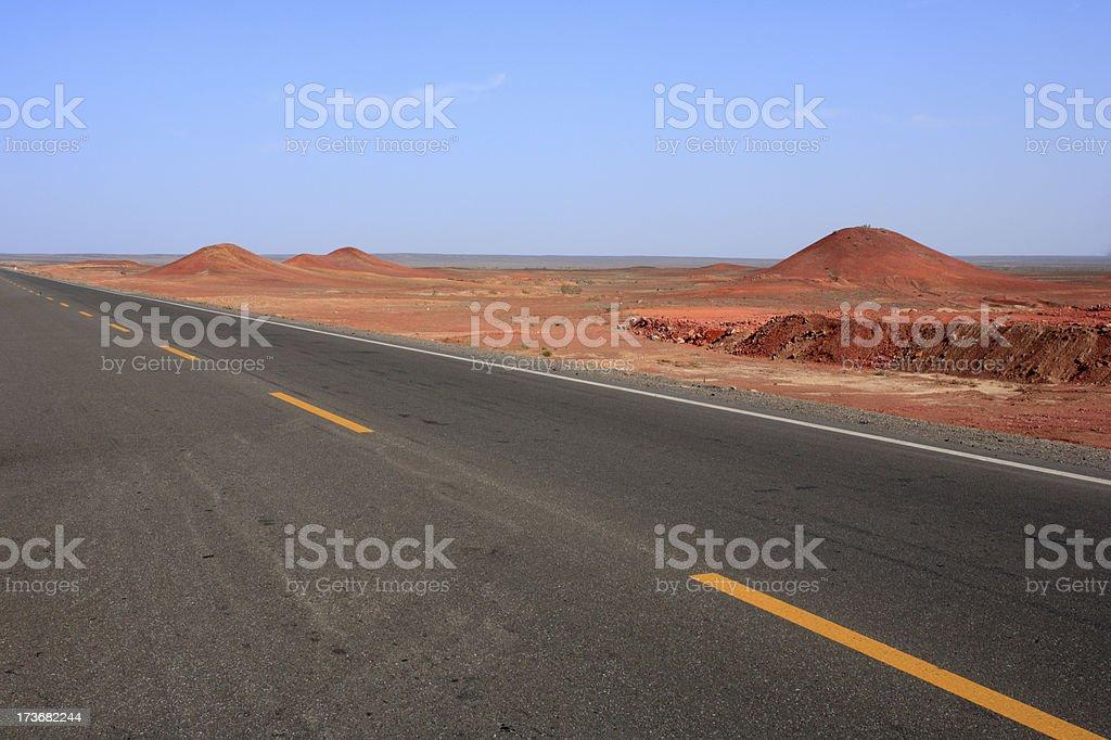 Highway and Gobi desert royalty-free stock photo